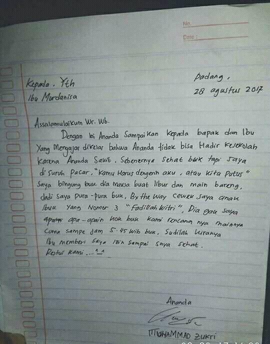 6 Surat Izin Tidak Masuk Sekolah Ini Bikin Ngakak Semua Orang