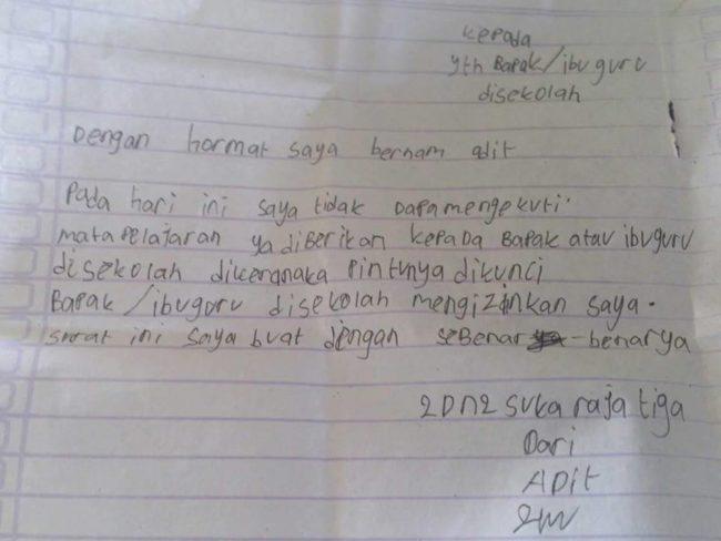 6 Surat Izin Tidak Masuk Sekolah Ini Bikin Ngakak Semua
