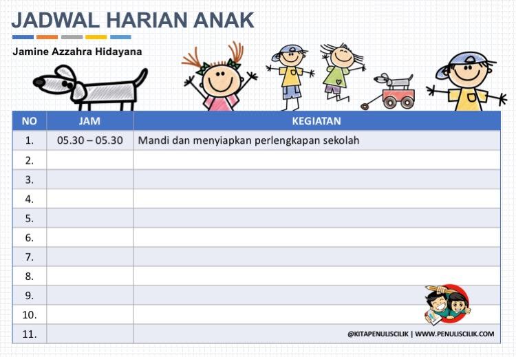 Download Contoh Jadwal Kegiatan Harian Anak Terbaru Penulis Cilik