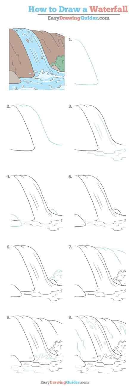 64 Gambar Air Terjun Sketsa Paling Hist